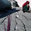 Dennis Ellsohn jugging snowy iced up cracks on day 2. July 1979