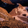 Dave Mention on the choss approach to the North Ridge in August 1998