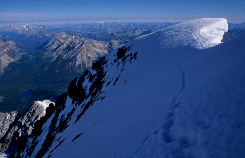 Summit view August 1998. Cold in the shadows that morning. Route was in good shape. About 7 hours round trip from the hu that day.