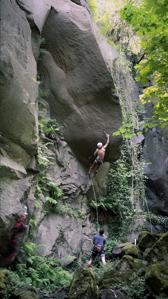 Leading up an unknown route at Rocky butte. If you know the name of this route please comment!