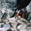 Eric Scranton climbing thru the maze of the Bypass Glacier in August 2002. Bit of a puzzle but we eventually solved it without too much backtracking.