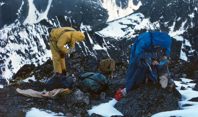 Mark Whiton and Al Rubin at the summit - July 1977. This was back in the day when you traversed southwest over one false summit, did a diagonal rap to a col and then did many raps down an icy couloir to get off the route. A very alpine adventure