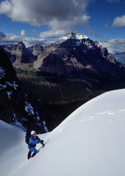 Dale Navish at the top of the 3.5 couloir on the way to the hut - August 1988.