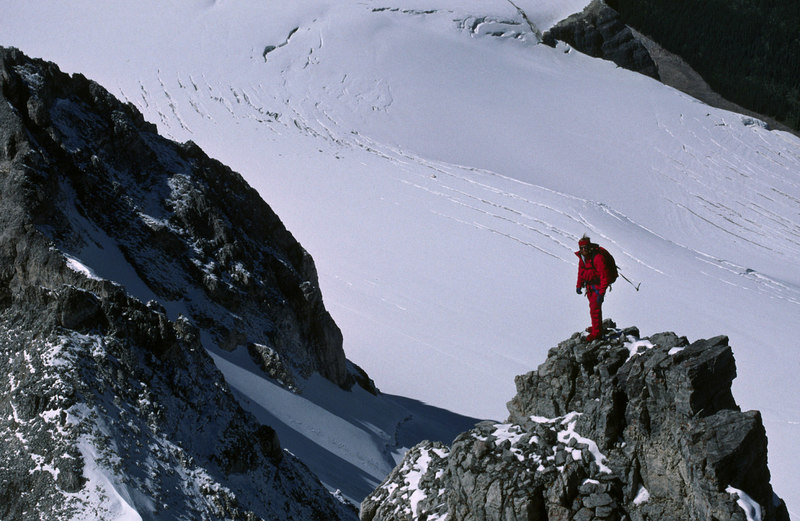 Mark Whiton on the West Ridge descent of Mt Fay - August 1988