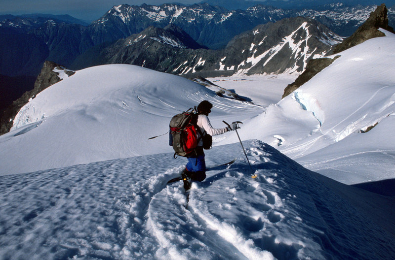 Steve Barnett skiing summit slopes of Mt Olympus in July 1988. Perfect corn all day long.