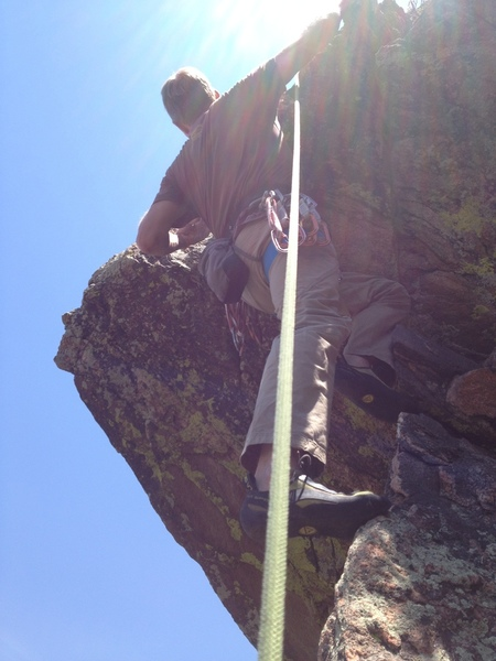At the last pitch crux.
