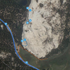 Orange line is trail from parking lot to dome.