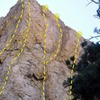 The Headwall, Williamson Rock<br> <br> A. Thrillseeker (5.12b)<br> B. Twist of Fate (5.13b)<br> C. Skeletons of Society (5.12d)<br> D. The Overlord (5.12d)<br> E. The Prime Directive (5.12b)