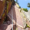 Looking up Chock Suey. A variation to pitch 3 of Chockstone that keeps the climbing at the 5.10 level for every pitch.