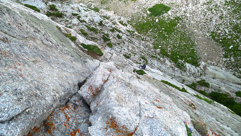 Looking down the 2nd pitch of the Lowe Route.