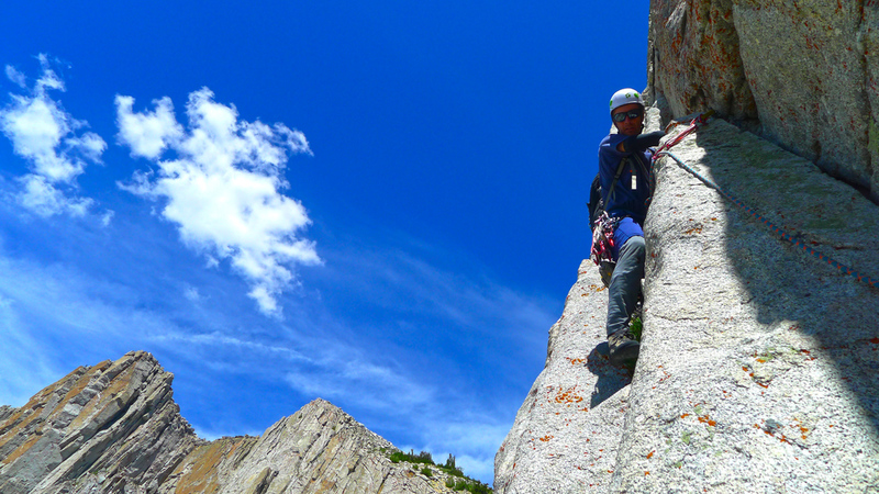 Start of the second pitch of the Lowe Route.
