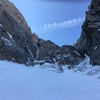 Approx 800' or so up the Black Ice Couloir, Alberich's Alley branches off to the left and the BI continues to the right (July 4th, 2018)