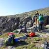 Sunday morning get-together at the top of the rappel route. There were 9 parties climbing The Black Wall that day, and we all arrived in a mad rush at the top of the rappels at practically the same time (~7:15am).
