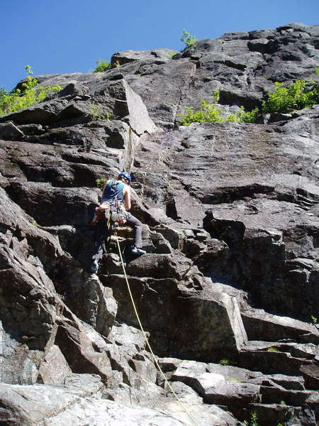 A climber starts up the Standard Route