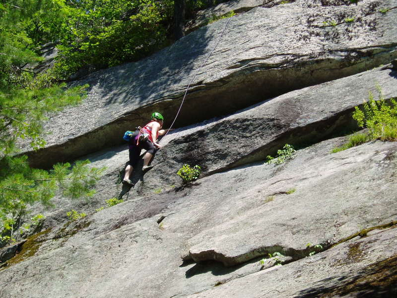 Ailie Byers on Spirit Guide; note she's left of the black lichen streak.  Rope above pretty much runs on the route.
