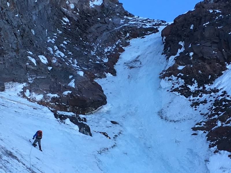 This pitch of blue ice was the best of the route.  Came on the 2nd (of 3) col crossed on the traverse to the rock exit.  June 23rd, 2018