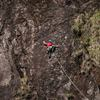 The american climber Esteban Martinez trying in free climbing, the second pitch