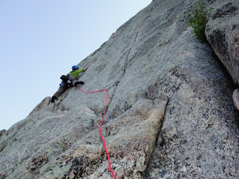 Starting up pitch 2, just below the short crux.