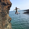 Angela M on some deep water bouldering. There are several good lines (some chossy) over clean, deep water falls.