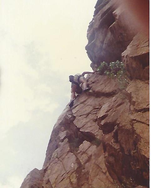 Barritt freesolo at the 40' hole 1984