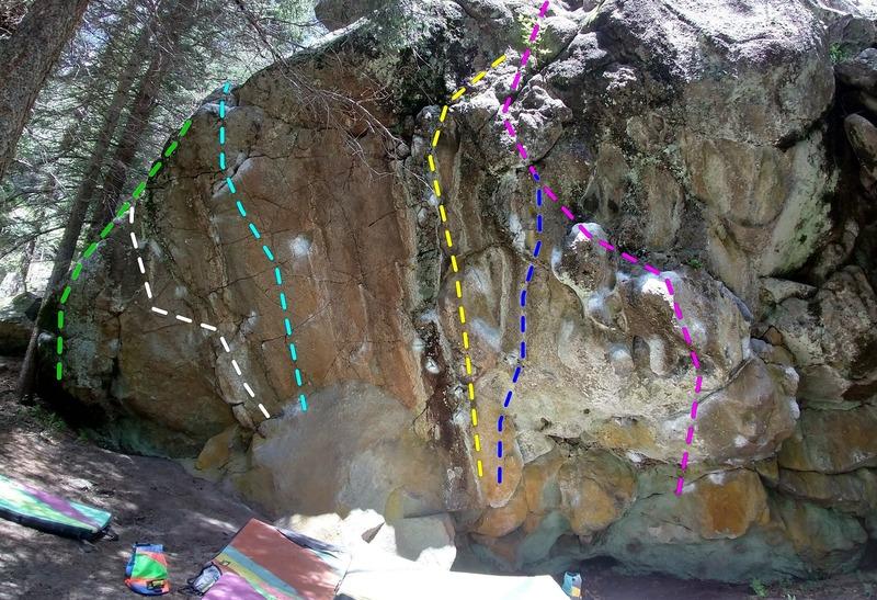 The Grotto topo. <br> Pink = Armstrong V3 <br> Blue = The Gastonometer V4 <br> Yellow = The Carny V5 <br> Turquoise = Buckeroo Banzai V5<br> Green = Heffalump V3