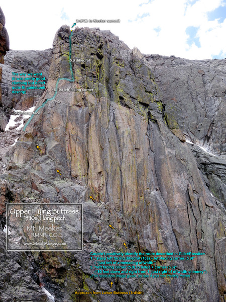 Route overlay for Upper Flying Buttress.
