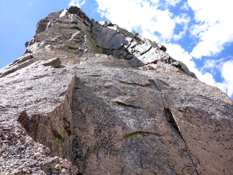 Upper Buttress, the way we went. I don't think this fits the guidebook description, but it worked well and was good climbing, ~10a.