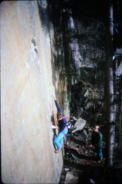 Darryl C- starting up Steel Monkey. Greg O- belaying and Larry Kemp in the tree taking pics. (Early 80s)