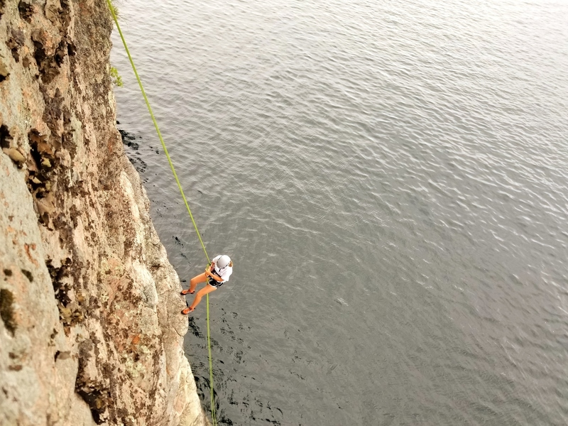 Greta rappelling off of Nauti Nana after putting up a successful FFA. One very proud 12-year old.