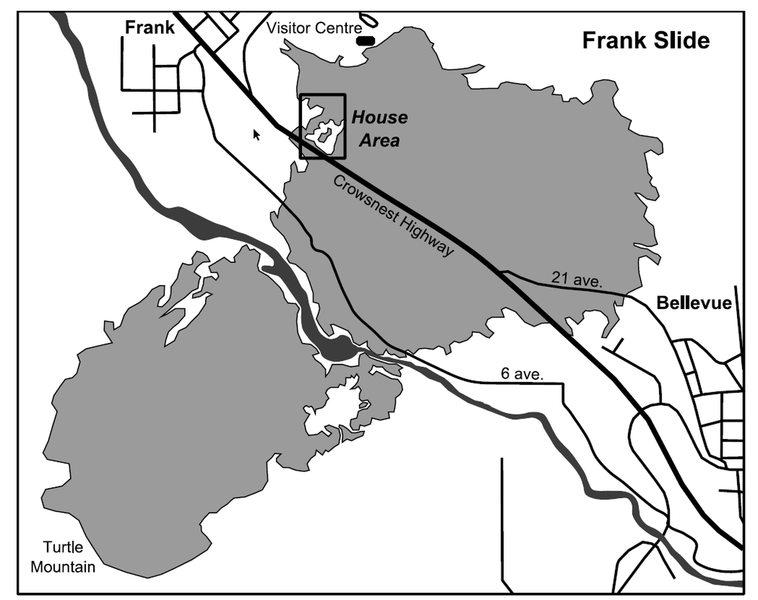 House area within greater Frank Slide