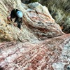 Emily Poulain on the scramble, such beautiful rock!