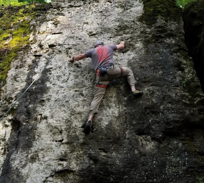 Steve top roping his first project route (White Whale)