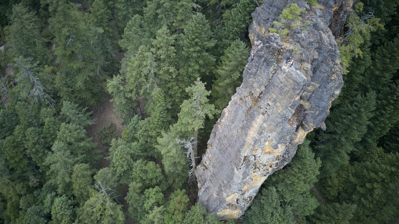 Looking down at the Forbidden Comb with climbers at the summit of Taste of Honey and Honey Pot