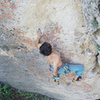 Caleb Sanchez on the first ascent of War Pigs (July 2018)