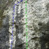 Project 5.10+ (left variation in blue) and White Whale (green). Shared anchors and 1 bolt.