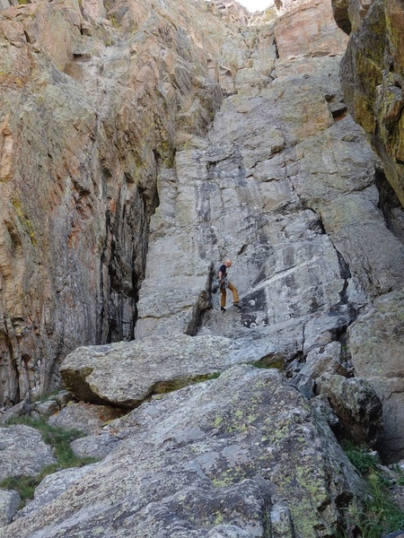 The East Face rappel route goes down the gully that dumps you off right where you started the approach pitches.