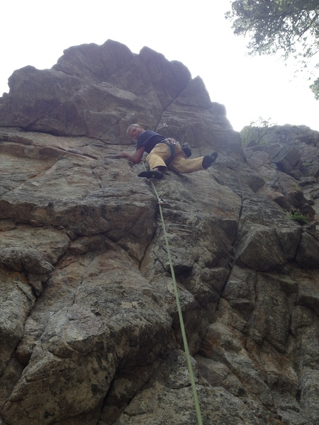 In the middle before the crux.