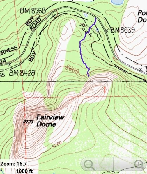 Approach from Glen Aulin Fisherman Trail to Cowboy Marmot
