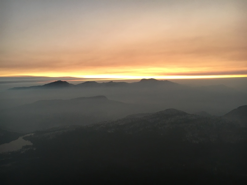 Sunset awaiting us at the top of Cathedral Peak. Adjacent wild fires provided the smoky contrast.
