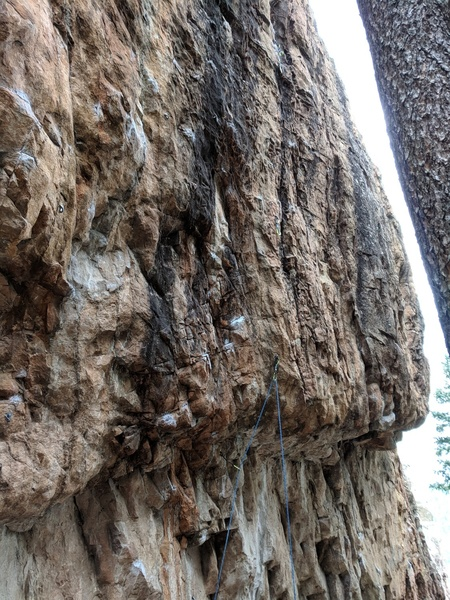 A side look at the roof at bolt two that constitutes the crux.