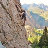 Eric looking for bliss, opening arete of Halcyon