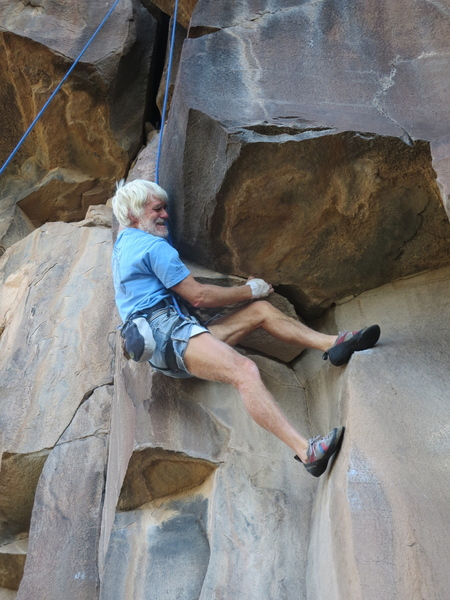 Chuck Calef flailing at the crux.