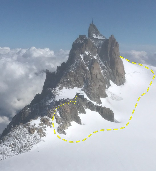 Looking back from Mt. Blanc du Tacul NW Face. The Arete starts where the rock becomes consistently one ridge and goes to the refuge.