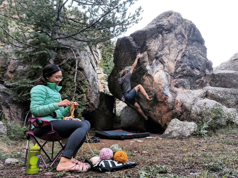Crocheting beside the Dynamic Block with Kyle climbing Dynamic Plan SDS.