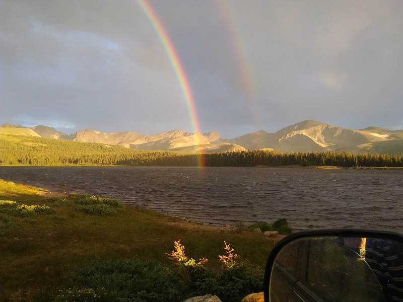 Mt. Toll from Lefhand Reservoir is just to the right of the rainbow.