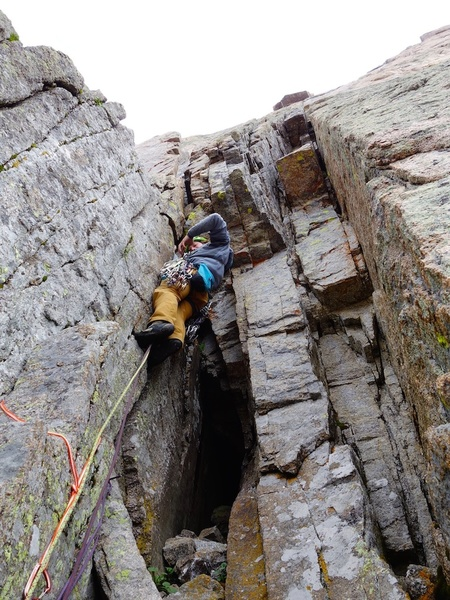 Starting up pitch 6. The section shown in the photo (i.e. between where I belayed and the Yellow Wall Bivy Ledge 50 feet higher) could be combined with either pitch 6 or pitch 5.