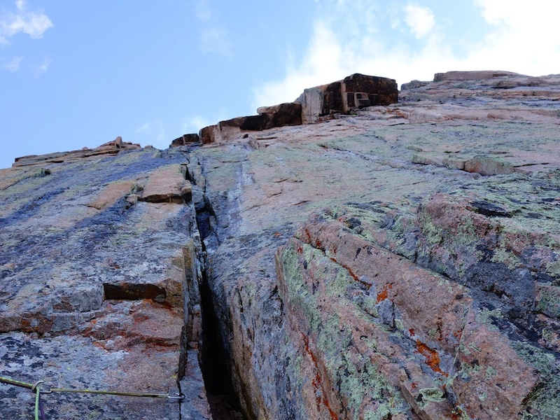 Looking up at the Black Dagger pitch 1 (left) and Forrest Finish (right) pitches above Table Ledge.