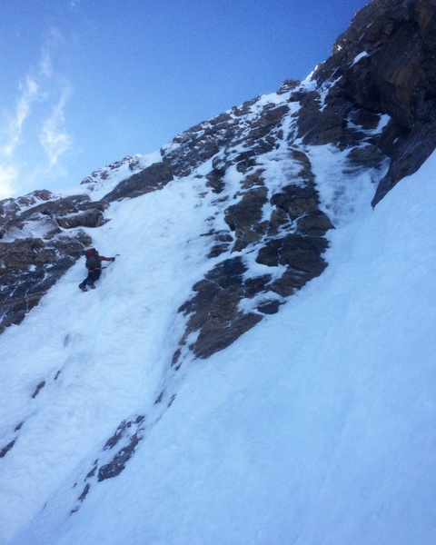 Justin Willis ascends alpine ice a couple hundred feet up the N Face.