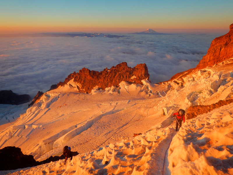 Alpenglow over Ingraham Glacier (high camp below)