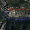 Red-first approach described(skis required)<br> Blue-second approach described
